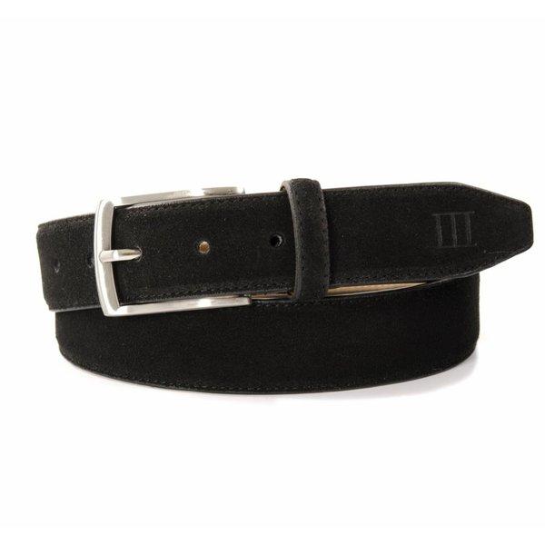 Tresanti zwarte echt leren riem gemaakt van suede  en makkelijk aanpasbaar d.m.v. een schroefje