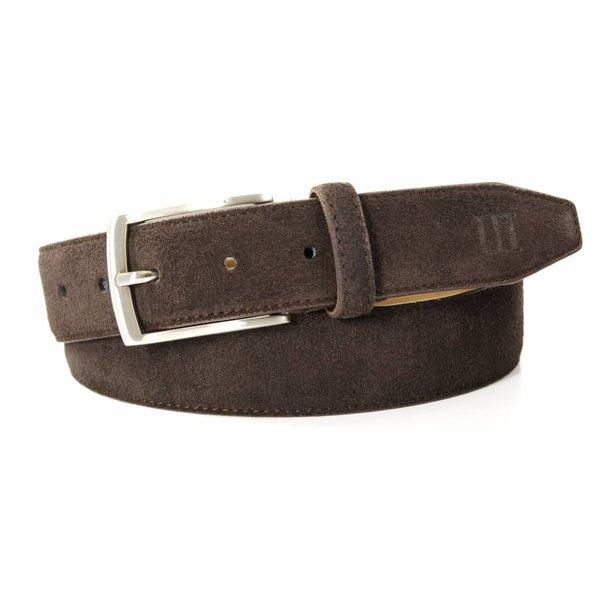Tresanti bruine echt leren riem gemaakt van suede  en makkelijk aanpasbaar d.m.v. een schroefje
