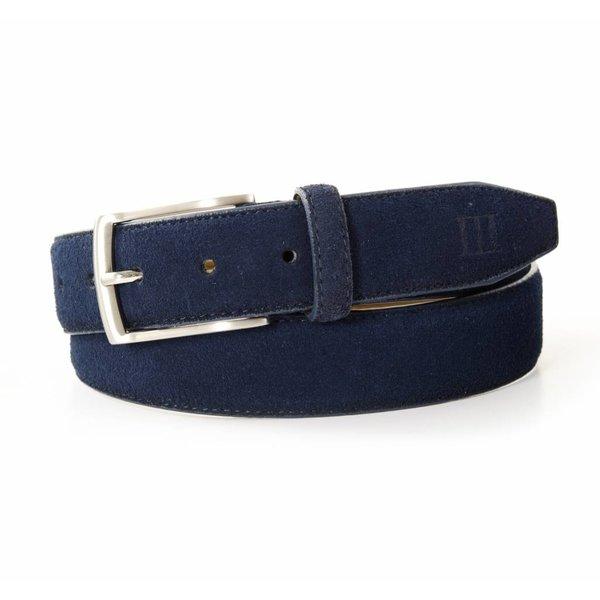 Tresanti blauwe echt leren riem gemaakt van suede  en makkelijk aanpasbaar d.m.v. een schroefje