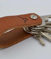 Scotts Bluf Leren sleutelhanger met logo