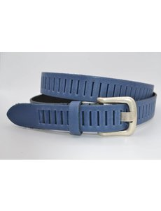 Scotts Bluf split lederen 30mm blauwe casual perforatie riem