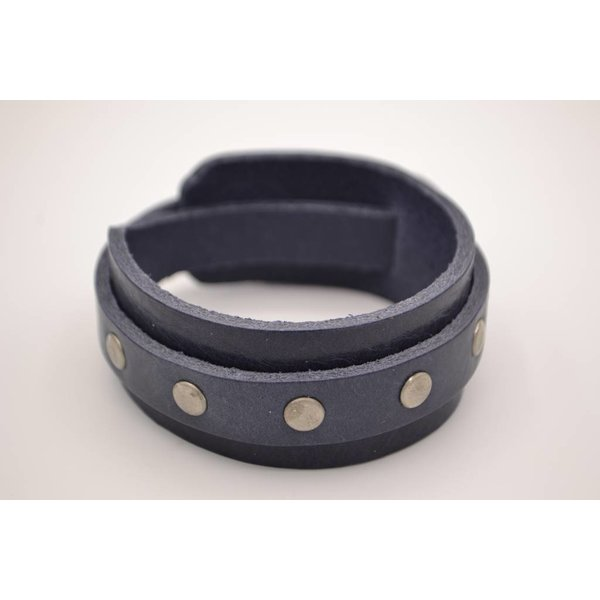Scotts Bluf Blauwe herenarmband van leer