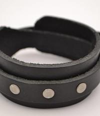Scotts Bluf Zwarte heren Armband Dubbel met studs