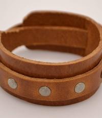Scotts Bluf Cognac heren Armband Dubbel met studs