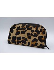 Scotts Bluf koehuid portemonnee met luipaardprint