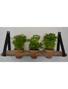 Scotts Bluf Plankendragers met plank en rode potten