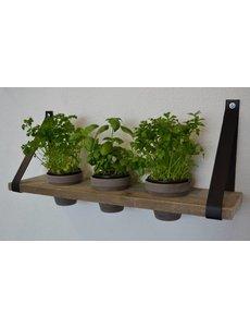 Scotts Bluf Plankendragers met plank en grijze potten