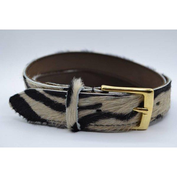 Scotts Bluf Leuke 3cm brede riem van koehuid met een zebraprint