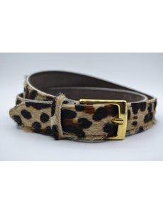 Scotts Bluf 3cm brede luipaard printriem met gouden gesp