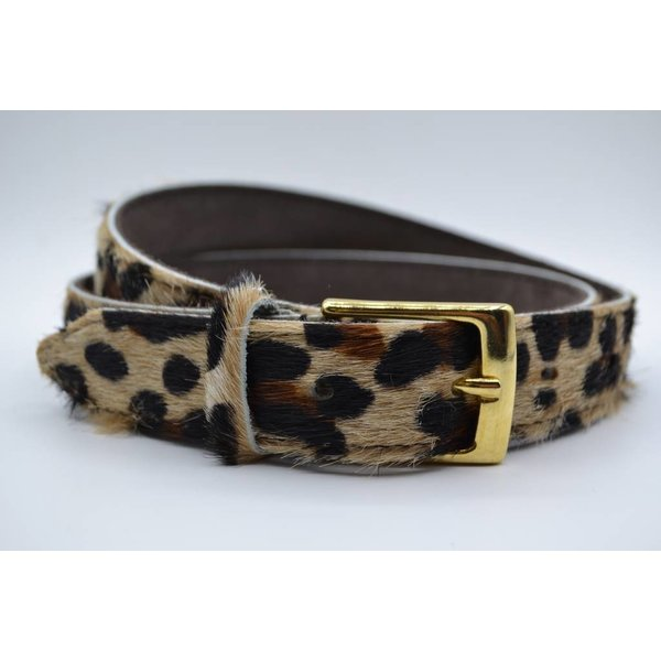 Scotts Bluf Leuke 3cm brede riem van koehuid met een luipaardprint