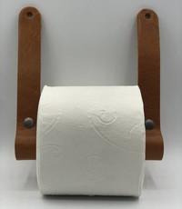 Scotts Bluf Luxe toiletrol houder van hout en Italiaans leer