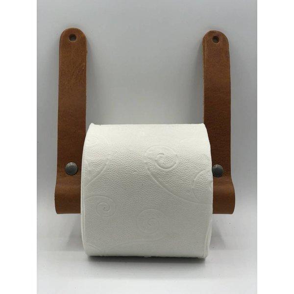 Scotts Bluf Luxe toiletrolhouder van Italiaans volnerf leer en hout