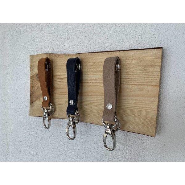 Scotts Bluf Superleuk sleutelplankjes van douglas hout met 3 echt lederen sleutelhangers