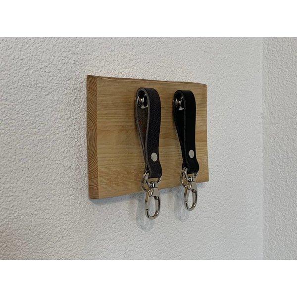 Scotts Bluf Superleuk sleutelplankjes van douglas hout met 2 echt lederen sleutelhangers