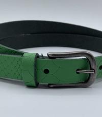 Scotts Bluf 2cm brede damesriem met groene slangenprint