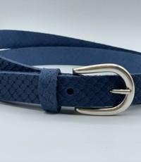 Scotts Bluf smalle blauwe damesriem met slangen print