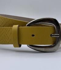 Scotts Bluf 3cm brede damesriem met oker gele slangenprint