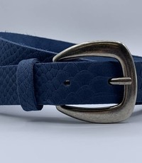 Scotts Bluf 3cm brede damesriem met blauwe slangenprint
