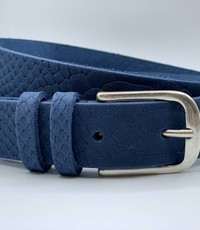 Scotts Bluf Trendy blauwe damesriem met slangenprint.