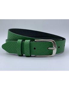 Scotts Bluf Trendy groene damesriem met slangenprint.