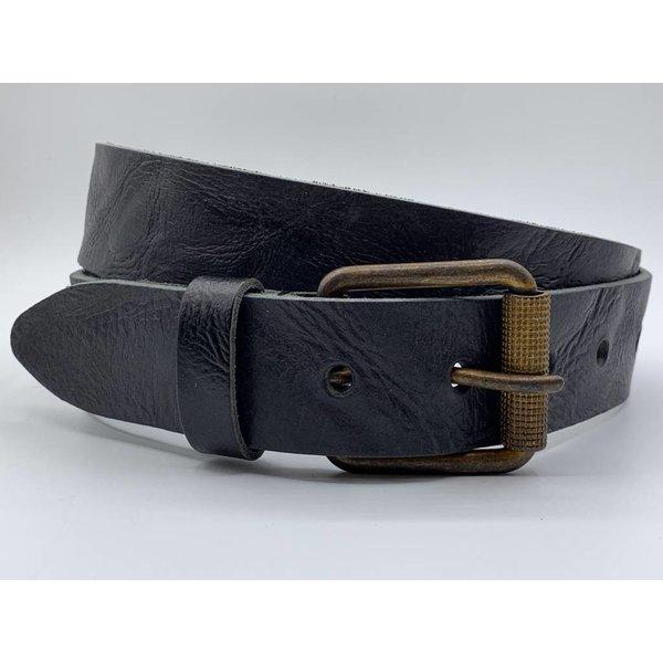 Scotts Bluf Stoere 4cm brede zwarte riem. Gekreukt leer en geroeste gesp