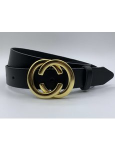 Scotts Bluf 3cm brede CC riem zwart met gouden gesp
