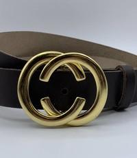 Scotts Bluf 3cm brede CC riem bruin met gouden gesp