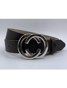 Scotts Bluf 3cm brede CC riem bruin met zilver kleurige gesp