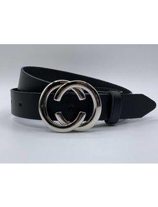 Scotts Bluf 3cm brede CC riem zwart met zilver kleurige gesp