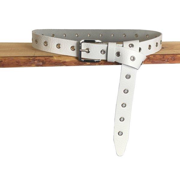 Rock 'n Rich Trendy lange knoopriem. Uitgevoerd in wit zeer soepel echt leer met zilveren ringen en gesp. 135cm lang - Copy