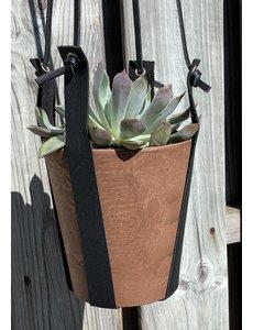 Scotts Bluf Terracotta kleurige hangpot small met echt lederen banden.