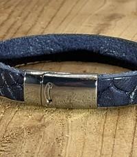 Scotts Bluf Armband blauw met krokodil print.