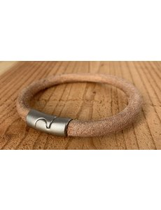 Scotts Bluf Naturel armband gemaakt van rond leer.