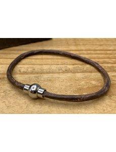 Scotts Bluf Smal armbandje van bruin 3mm dik echt rondleer.