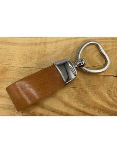 Scotts Bluf Cognac sleutelhanger met hart vormige sleutelring
