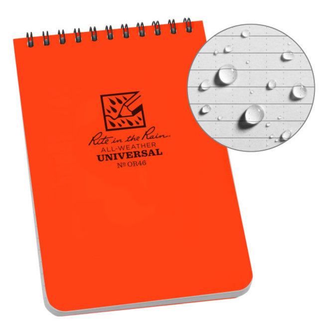 Rite in the Rain 4 x 6 Weatherproof Top Spiral Notebook Orange OR46