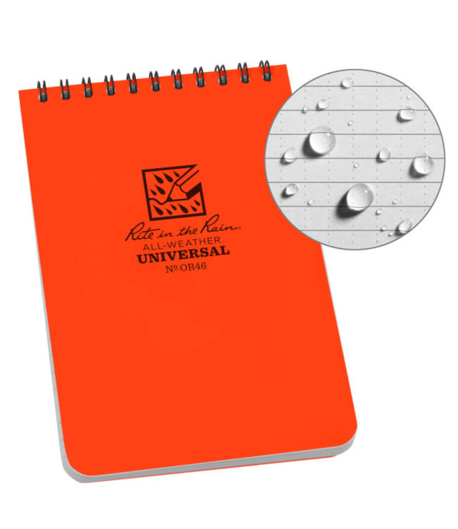 Rite in the Rain 4 x 6 Weatherproof Top Spiral Notebook Orange OR46