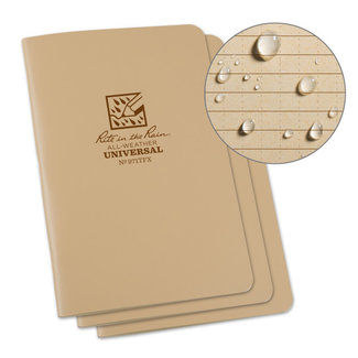 "Rite in the Rain Rite in the Rain notebook 4 5/8"" x 7"" tan, 3 pcs, 971TFX"