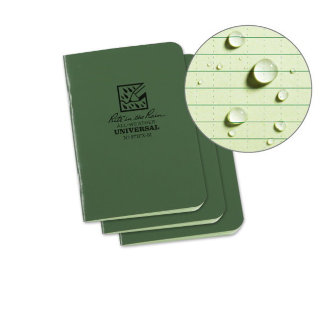 Rite in the Rain Set 3 Field Flex Boekjes Green - Mini Stapled Books 3 pack  971FX-M
