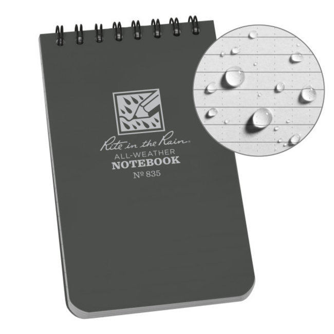 Rite in the Rain 3 x 5 Top Spiral Notebook 835 Gray