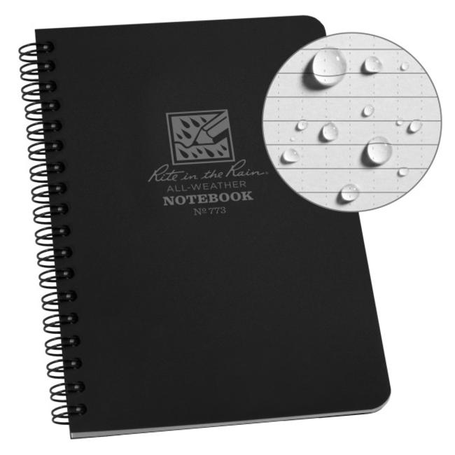 Rite in the Rain Side Spiral Notebook  Black 773