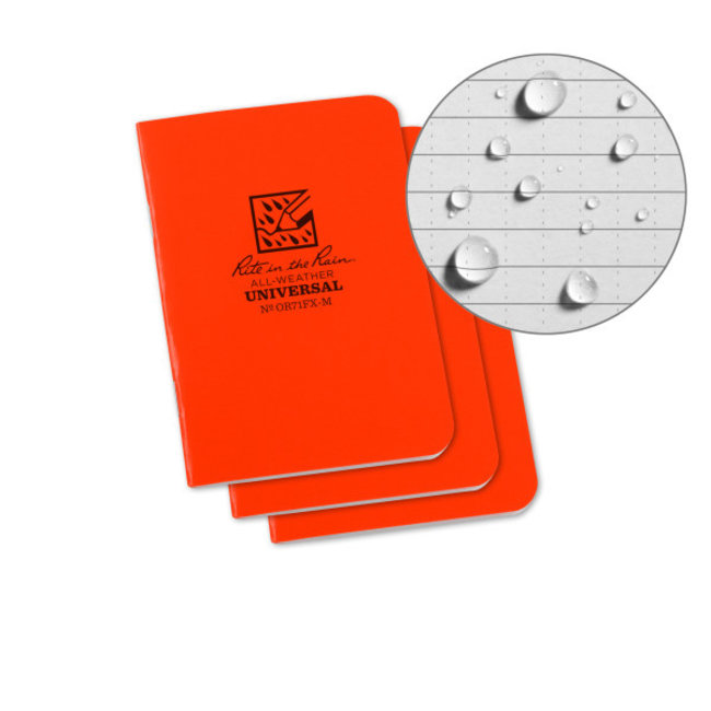 Rite in the Rain Set 3 Field Flex Boekjes Blaze Orange - Mini Stapled Books 3 pack  OR71FX-M