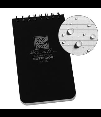 Rite in the Rain 3 x 5 Top Spiral Notebook 735 Black