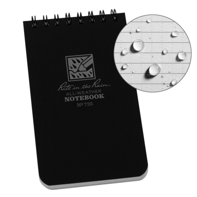 Rite in the Rain 3 x 5 Top Spiral Notebook 735 Black