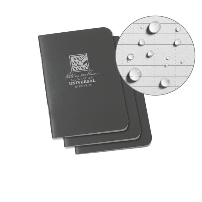 Rite in the Rain Mini Stapled Notebook, Gray Cover, 3 Pack (No. 871FX-M)
