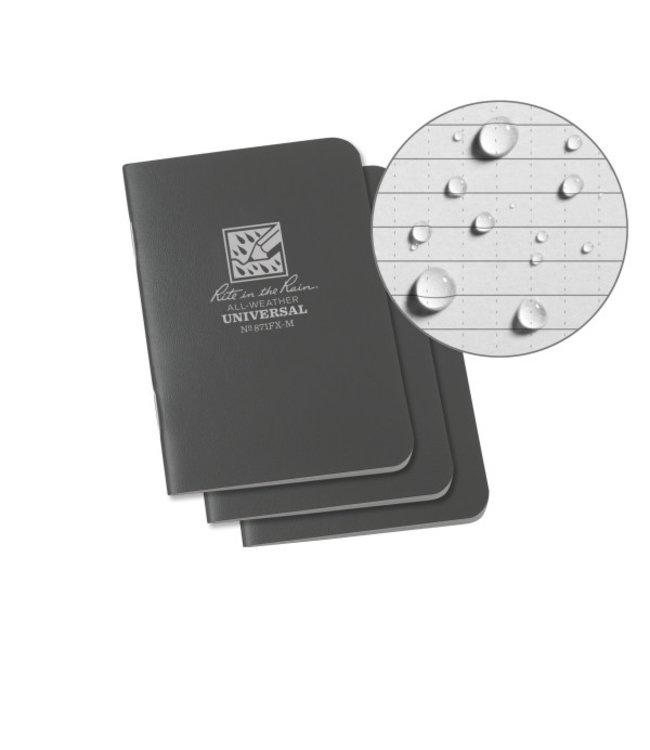 Rite in the Rain Mini Stapled Notebook, Gray Cover, 3 Pack (No. 871FX-M)
