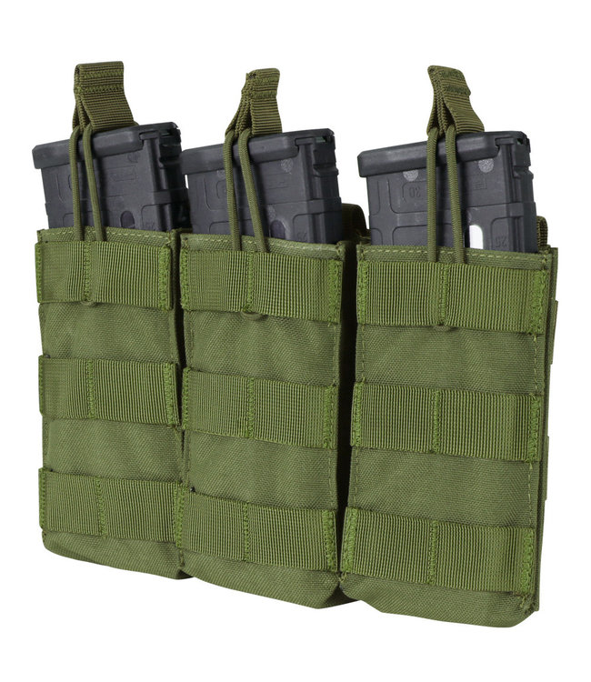 Condor Outdoor Triple Open-Top M4/HK416/C8/Diemaco Mag Pouch OD Green (MA27-001)