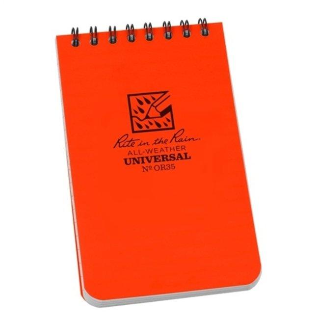 Rite in the Rain 3 x 5 Top Spiral Notebook Blaze Orange OR35