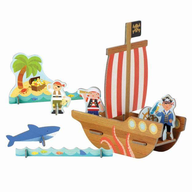 Petit Collage Pop Out 3D Piratenschip