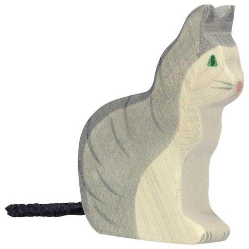 Holztiger Kat Zittend 6 cm